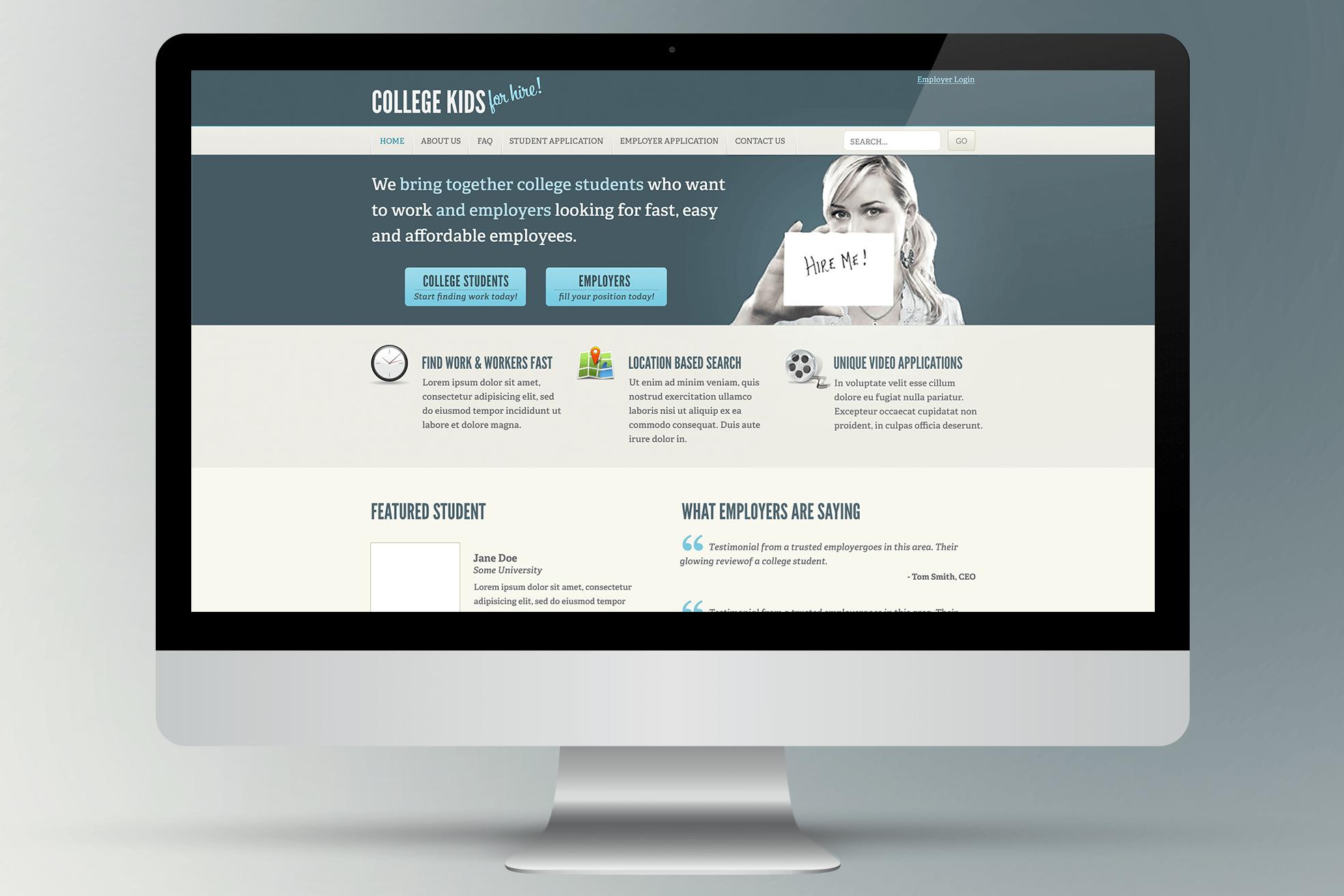 College Kids for Hire Web Design